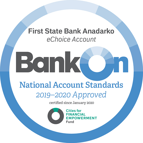 First State Bank of Anadarko' Bonk On certification Award